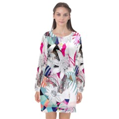 Flower Graphic Pattern Floral Long Sleeve Chiffon Shift Dress  by Mariart