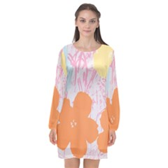 Flower Sunflower Floral Pink Orange Beauty Blue Yellow Long Sleeve Chiffon Shift Dress