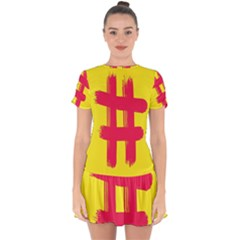 Fun Ain t Gone Fence Sign Red Yellow Flag Drop Hem Mini Chiffon Dress by Mariart