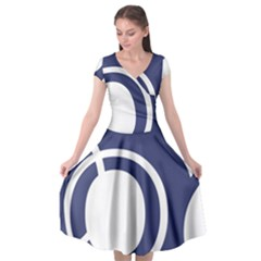 Garamond Blue White Wave Chevron Cap Sleeve Wrap Front Dress