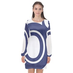 Garamond Blue White Wave Chevron Long Sleeve Chiffon Shift Dress