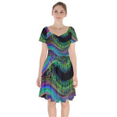Aurora Wave Colorful Space Line Light Neon Visual Cortex Plate Short Sleeve Bardot Dress by Mariart