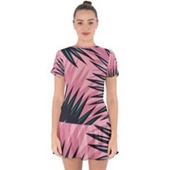 Graciela Detail Petticoat Palm Pink Green Drop Hem Mini Chiffon Dress by Mariart