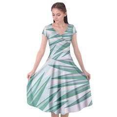 Graciela Detail Petticoat Palm Pink Green Gray Cap Sleeve Wrap Front Dress by Mariart