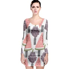 Grapes Watermelon Fruit Patterns Bouffants Broken Hearts Long Sleeve Bodycon Dress