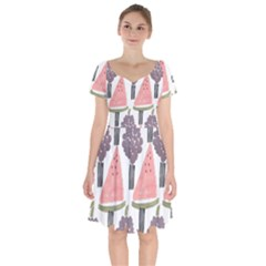 Grapes Watermelon Fruit Patterns Bouffants Broken Hearts Short Sleeve Bardot Dress