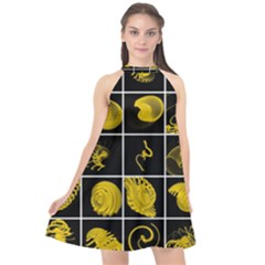 Grasshopper Rhino Spirograph Beautiful Fabulous Halter Neckline Chiffon Dress
