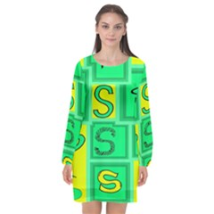 Letter Huruf S Sign Green Yellow Long Sleeve Chiffon Shift Dress  by Mariart