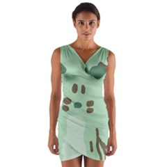 Lineless Background For Minty Wildlife Monster Wrap Front Bodycon Dress by Mariart