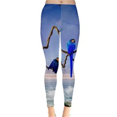 Wonderful Blue  Parrot Looking To The Ocean Leggings  by FantasyWorld7