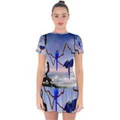 Wonderful Blue  Parrot Looking To The Ocean Drop Hem Mini Chiffon Dress by FantasyWorld7