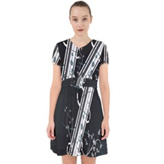 Line Light Leaf Flower Floral Black White Beauty Polka Adorable In Chiffon Dress by Mariart