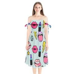 Lipstick Lips Heart Valentine Star Lightning Beauty Sexy Shoulder Tie Bardot Midi Dress by Mariart
