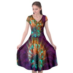 Live Green Brain Goniastrea Underwater Corals Consist Small Cap Sleeve Wrap Front Dress by Mariart