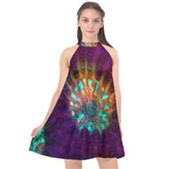 Live Green Brain Goniastrea Underwater Corals Consist Small Halter Neckline Chiffon Dress