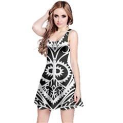 Paper Cut Butterflies Black White Reversible Sleeveless Dress by Mariart