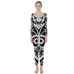 Paper Cut Butterflies Black White Long Sleeve Catsuit by Mariart
