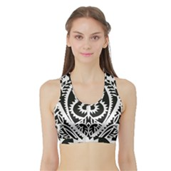 Paper Cut Butterflies Black White Sports Bra With Border by Mariart