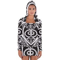 Paper Cut Butterflies Black White Long Sleeve Hooded T Shirt by Mariart