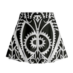Paper Cut Butterflies Black White Mini Flare Skirt by Mariart