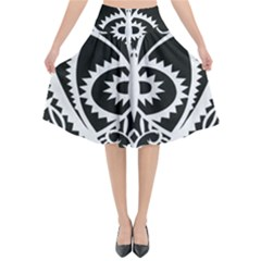 Paper Cut Butterflies Black White Flared Midi Skirt by Mariart