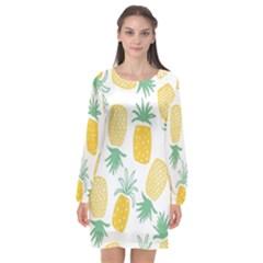 Pineapple Fruite Seamless Pattern Long Sleeve Chiffon Shift Dress  by Mariart