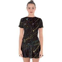 Neurons Light Neon Net Drop Hem Mini Chiffon Dress by Mariart