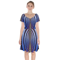 Illustration Robot Wave Rainbow Short Sleeve Bardot Dress