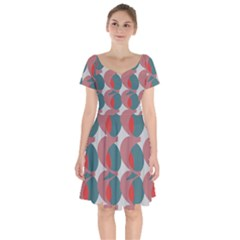 Pink Red Grey Three Art Short Sleeve Bardot Dress by Mariart