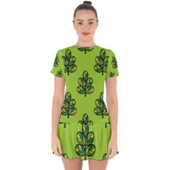Seamless Background Green Leaves Black Outline Drop Hem Mini Chiffon Dress