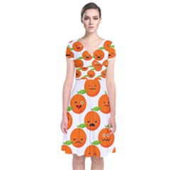 Seamless Background Orange Emotions Illustration Face Smile  Mask Fruits Short Sleeve Front Wrap Dress by Mariart