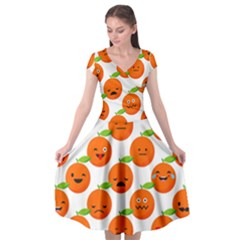 Seamless Background Orange Emotions Illustration Face Smile  Mask Fruits Cap Sleeve Wrap Front Dress by Mariart