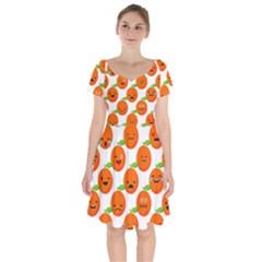 Seamless Background Orange Emotions Illustration Face Smile  Mask Fruits Short Sleeve Bardot Dress by Mariart
