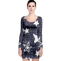 Star Space Line Blue Art Cute Kids Long Sleeve Bodycon Dress by Mariart