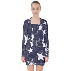 Star Space Line Blue Art Cute Kids V Neck Bodycon Long Sleeve Dress by Mariart