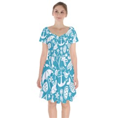 Summer Icons Toss Pattern Short Sleeve Bardot Dress