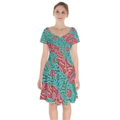 Recursive Coupled Turing Pattern Red Blue Short Sleeve Bardot Dress