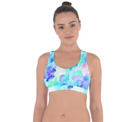 Transparent Colorful Rainbow Blue Paint Sky Cross String Back Sports Bra by Mariart