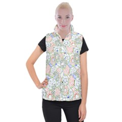Donuts Pattern Women s Button Up Puffer Vest by ValentinaDesign