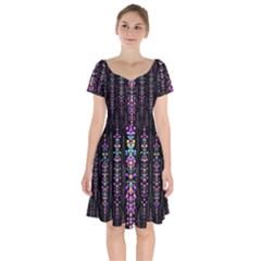 Rainbow Asteroid Pearls In The Wonderful Atmosphere Short Sleeve Bardot Dress by pepitasart