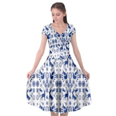 Rabbits Deer Birds Fish Flowers Floral Star Blue White Sexy Animals Cap Sleeve Wrap Front Dress by Mariart