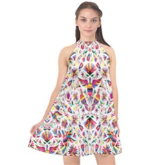 Peacock Rainbow Animals Bird Beauty Sexy Flower Floral Sunflower Star Halter Neckline Chiffon Dress