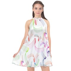 Rainbow Green Purple Pink Red Blue Pattern Zommed Halter Neckline Chiffon Dress
