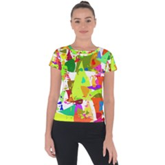 Colorful Shapes On A White Background                       Short Sleeve Sports Top