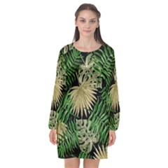 Tropical Pattern Long Sleeve Chiffon Shift Dress  by ValentinaDesign
