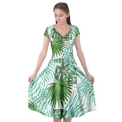 Tropical Pattern Cap Sleeve Wrap Front Dress by ValentinaDesign