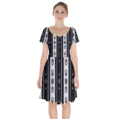 Folklore Pattern Short Sleeve Bardot Dress by ValentinaDesign