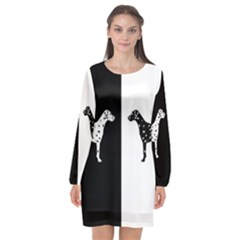 Dalmatian Dog Long Sleeve Chiffon Shift Dress  by Valentinaart