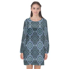 Oriental Pattern Long Sleeve Chiffon Shift Dress  by ValentinaDesign
