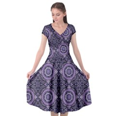 Oriental Pattern Cap Sleeve Wrap Front Dress by ValentinaDesign